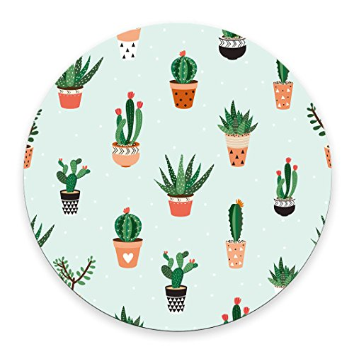 Cacti and Succulents Round mosue pad Non-Slip Mouse pad Gaming Mouse pad