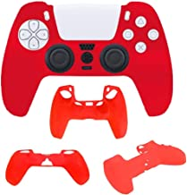PS5対応DualSenseコントローラ用保護カバー グリップ 滑り止めカバー衝撃と傷からコントローラを保護 プレイステーション5 ワイヤレスコントローラー コントローラーシリコンカバー 赤色
