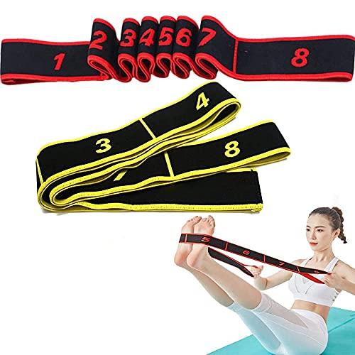 2 Stück Yoga Stretch Gurt, Fitnessbander, Widerstandsbänder, Training Bänder, Resistance Latin Bands, Multi-Schleifen Verstellbares Übungsband, für Fitness, Tanztraining, Gymnastik (Rot+Gelb)