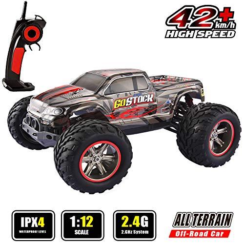 GoStock Ferngesteuertes Auto, 1:12 RC Auto 42 km/h Funkfernsteuerung Elektro Geländewagen Auto 2,4 GHz RC ferngesteuertes Offroad Buggy Monstertruck Auto Spielzeug Geschenk für Kinder und Erwachsene