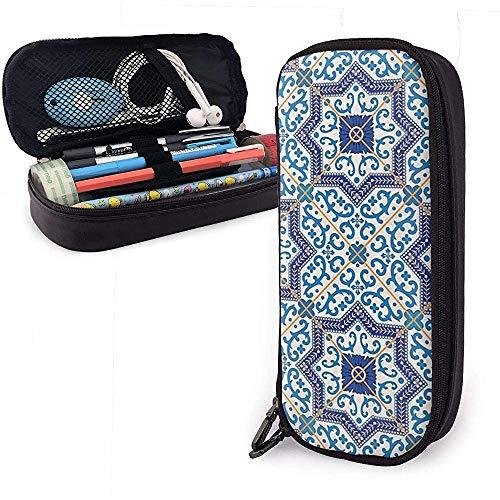 Marokkaanse Portugese stijl klassieke tegels schattig pennenetui lederen tas etui houder doos voor school kantoor meisjes jongens volwassenen