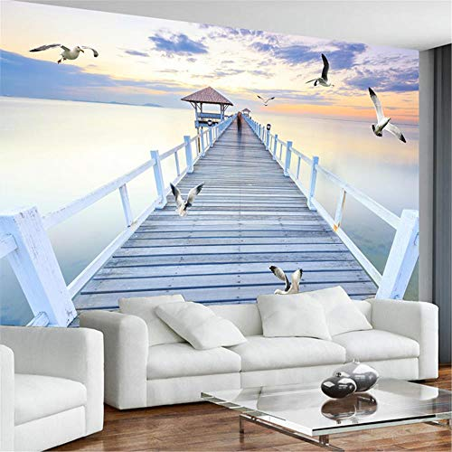JIYOTTF Efecto 3D decoración de interiores dormitorio infantil.Atardecer playa puente de madera gaviotas.(W 250 x H 175cm) Papel tapiz mural 3D sala de estar dormitorio decoración del hogar autoadhes