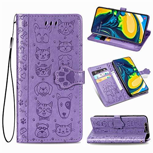 Generic Handyhülle für Galaxy A80 Hülle Leder Schutzhülle Brieftasche mit Kartenfach Magnetisch Stoßfest Handyhülle Case für Samsung Galaxy A80 - XISHD050252 Violett