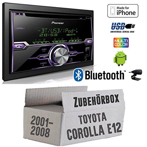 Radio Pioneer FH-X720BT USB Bluetooth CD Autoradio Android iPod/iPhone-Direktsteuerung - Einbauset für Toyota Corolla E12/120 - JUST SOUND best choice for caraudio