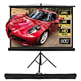 "【Portable Projector Screen】86.75 x 49'', 100"" diagonal, 16:9 HD format, active 3D, 4K ultra HD. Three-layer material pressed projection screen made using high quality PVC. The black back prevents light from penetrating the screen, providing you with ..."