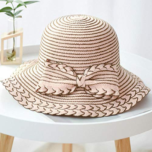 Corea Estilo Mujeres Sombreros de verano Señoras Arco grande Paja Paja Playa Sombrero para el sol Mujer Ala ancha Panamá Cubo Sombreros flexibles-Rosado