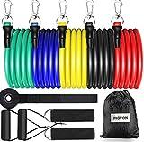 bigfox elastici per palestra - 5 bande elastiche resistenza,fasce elastiche fitness,elastici fitness,in lattice con caviglie ancoraggio/gancio da porta, anti-strappo per porta, pilates,yoga