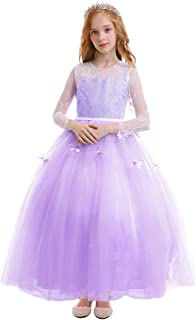 FYMNSI Flower Girls Lace Butterfly Appliques First Communion Dress Long Sleeves Princess Ball Gown Wedding Dress 2-13T