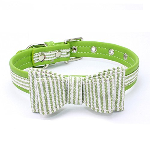 TFENG FENG Halsband für Hunde und Katzen, Classic Soft Weich Baumwolle Einstellbare Katzenhalsband Welpen Hunde Halsband (Grün,M)
