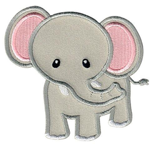 PatchMommy Elefant Patch Aufnäher Applikation Bügelbild (Grau/Rosa) - zum Aufbügeln oder Aufnähen - für Kinder/Baby