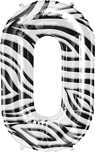 Zebra Stripe Number Zero 0 Mylar Balloon - 34 Inch by Northstar Balloons