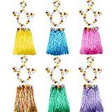 HLONGG 6 Set HABIANO HUMAS Hula Falda con Flote LEISLA COLLARO DE Lifts Collares DE Fajas DE Fajas DE COLLAJE DE FUTELA DE CUMPLEAÑOS para Mujeres Fijo DE CUMPLEACIONES,Multi Colored