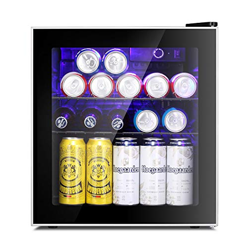 Antarctic Star Beverage Refrigerator Cooler - 60 Can Mini Fridge Glass Door for Beer Soda or Wine – Glass Door Small Drink Dispenser Machine Clear Front Removable for Home, Office or Bar, 1.6cu.ft.
