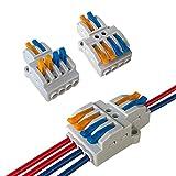 Aiqeer 15 Piezas KV424 Palanca Tuerca Cable Conectores Set, 2 in 4 out Conector Conductor Compacto, Bilateral Rápido Resorte Conector Bloque Terminal
