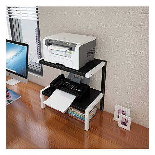 Soportes para impresoras Base de la impresora hogar con estantes de almacenamiento de 2 niveles estructura de acero, la madera multiuso Organizador de escritorio de la máquina de fax, escáner, archivo