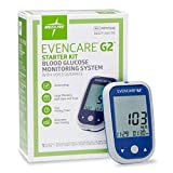 Medline EvenCare G2 Blood Glucose Monitoring System Starter Kit, Includes Meter, Batteries, Lancing Device, 10 Lancets, 10 Test Strips, Guide, Carrying Case, Log Book