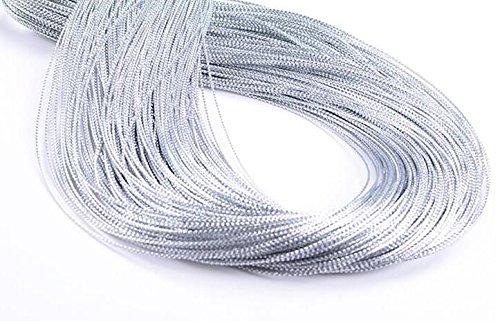 EDGEAM 100M Silber glitzernd Kunststoff Kordel Ø 1mm für Hang Etikett, DIY Dekoration Basteln Nähen
