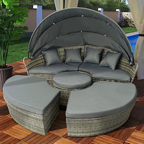Swing & Harmonie Polyrattan Sonneninsel mit LED Beleuchtung + Solarmodul inklusive Abdeckcover Rattan Lounge Sunbed Liege Insel mit Regencover Sonnenliege Gartenliege (210cm, Grau) - 6
