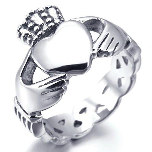 INBLUE Women,Men's Stainless Steel Ring Silver Tone Irish Celtic Knot Irish Claddagh Friendship Love Heart Royal King Crown Size6