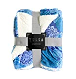 DINY Home & Style Sherpa Throw Luxury Berber Blanket 50' x 60' Reversible Fuzzy Microfiber All Season Blanket for Bed or Couch Newport Velvet Series (Peach & Blue)