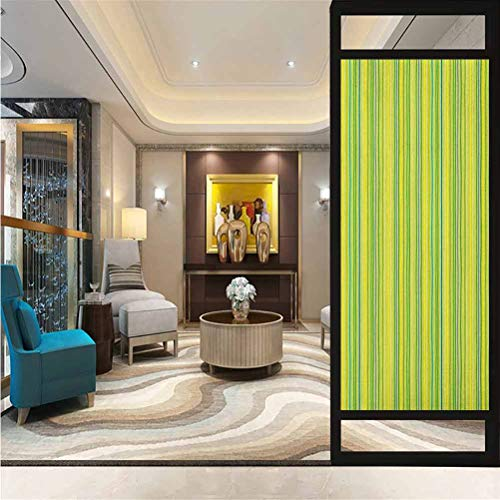 17.7' W x 78.7' L inches,Glass Sticker,Home Office Glass Door Sticker,Lime Green,Pastel Toned Vertical Bands Striped Lines Geometric Figures Soft Print,Pale Green Yellow