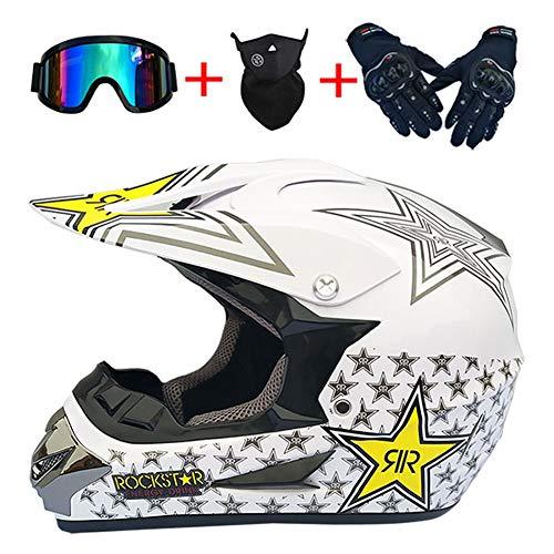Casco Integral DH de Moto para Adultos MTB con certificación Dot ATV MX Motocross Rally Enduro Black Star Pattern Casco Protector (Guantes Gafas Máscara Conjunto de 4),Blanco,54~55cm M