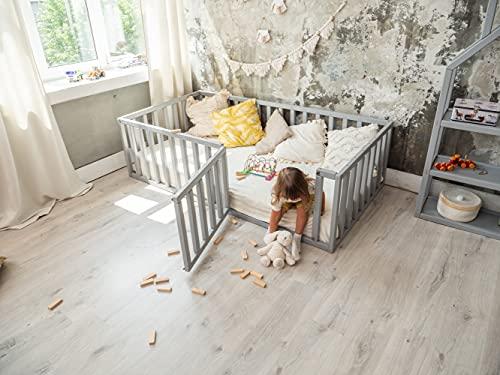 Montessori floor bed Toddler gym Play room Kids furniture Wood frame Children pen Waldorf toys