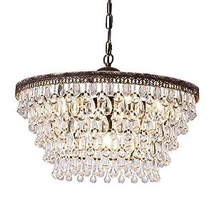 Wellmet Crystal Chandelier, 6-Light 5 Tiers Farmhouse Crystal Light, Adjustable Hanging Bronze Ceiling Lighting Fixture, Modern Foyer Dining Room Chandeliers for Bedroom,Hallway,Bar,Kitchen, W20-inch