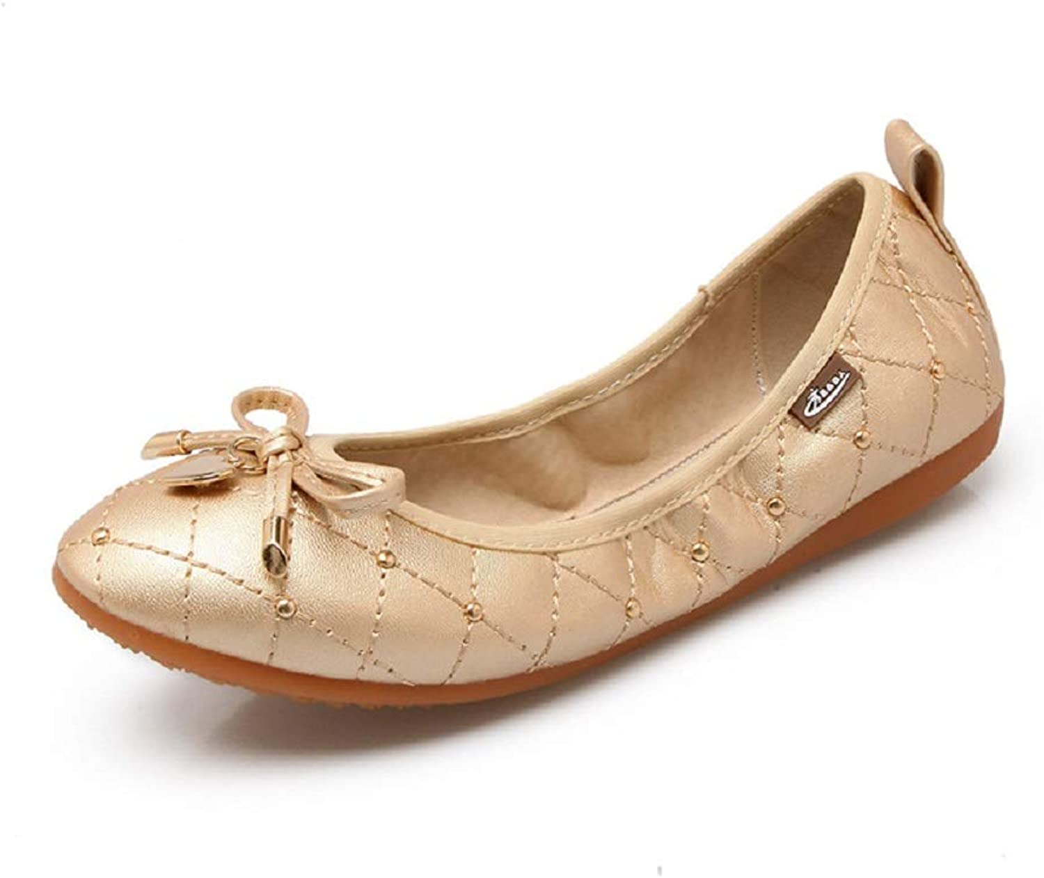 Roll up Metal Comfort Soft Large Size Women Ballet Flats (color   gold, Size   CA 5)