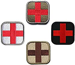Bundle 4 Pieces Cross Tactical Medic Medical Aid Fist Aid Embroidery Patches Tactical Medical Backpack Armband Insignia Patch