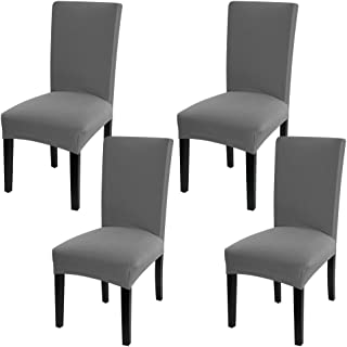 Fuloon 4 Pack Super Fit Stretch Removable Washable Short Dining Chair Protector Cover Seat Slipcover for Hotel,Dining Room,Ceremony,Banquet Wedding Party (Gray)