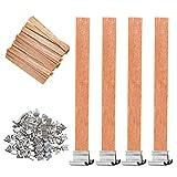 Gobesty Mechas de velas de madera, 50 juegos de mechas de núcleo de madera natural con soporte de hierro para la fabricación artesanal de velas hechas a mano, 13 x 130 mm