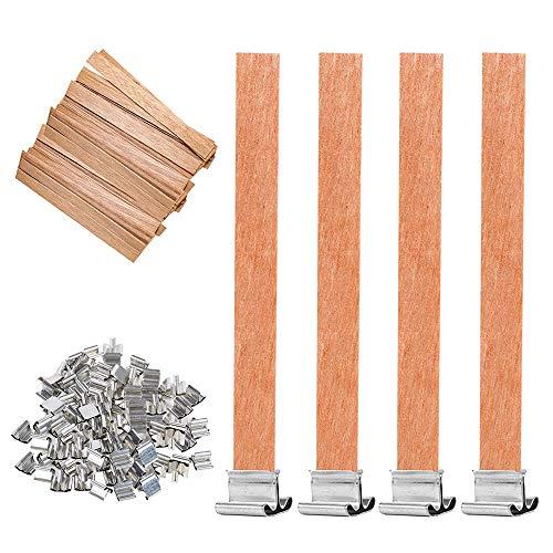 Gobesty Stoppini per Candele in Legno, 50 Set Stoppini in Legno Naturale con Supporto in Ferro per creazione Artigianale di Candele Fatte a Mano, 13 x 130 mm