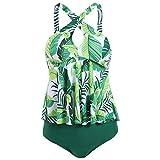 Viloree Tankinis traje de baño de cintura alta con volantes bikini halter traje de baño ...