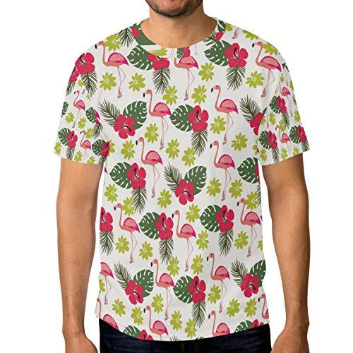 Camisetas para hombre de color rosa tropical flamenco y hojas de palma hibisco flores personalizadas verano casual camisetas Multicolor multicolor L
