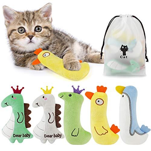 Dorakitten 5PCS Katzen Spielsachen : Katzenspielzeug Set aus Katzenkissen mit Katzenminze | Interaktives Katzen-Spielzeug für Katzen und Kitten