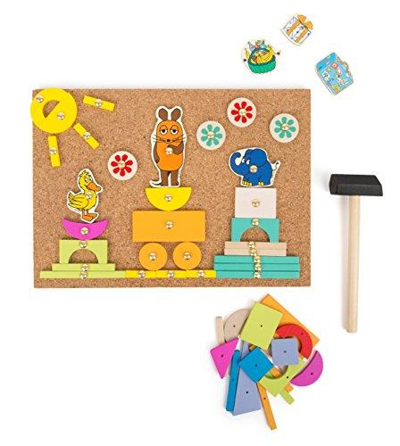 small foot 10817 Sendung Hämmerchenspiel auf Korkboden mit Motiven Co. aus Der Maus, inkl. Vieler Holzteile, Nägel und Hämmerchen zum basteln und konstruieren, fördert die Kreativität