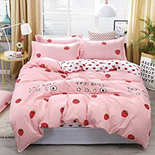 4pcs Pink Strawberry Kawaii Bedding Set Luxury Queen Size Bed Sheets Children Quilt Soft Comforter Cotton Bedding Sets for...