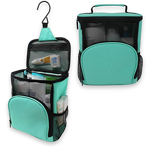 TERRA HOME Portable Shower Caddy - College Dorm Room Essentials - Large Capacity, Quick Dry and Water Resistant with Metal Hook - Hanging Shower Bag for Gym and Travel (Aqua)