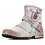 OSSTONE Botas para Moto Botines Hombre de Invierno Piel Zapatos Negras Vestir Nieve Piel Forradas Calientes Planas Combate Militares Cremallera Boots OS-5008-1-W-10.5-R