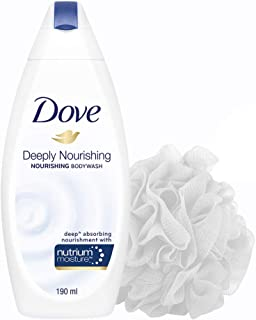 Dove Deeply Nourishing Body Wash, 190 ml  with (Free Loofah)