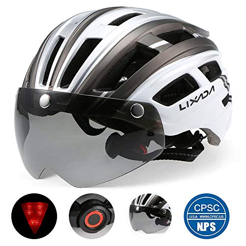 Lixada Bike Helmet with Detachable Magnetic Goggles Visor and LED Back Light Mountain & Road Bicycle Helmets Adjustable Size UV Protective Adult Cycling Helmets (Silver & Grey)