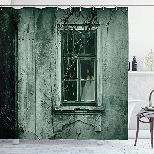 Haunted House with Ghost Behind Window Halloween Shower Curtain