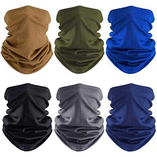 6 Pieces Summer Face Cover UV Protection Neck Gaiter Scarf Sunscreen Breathable Bandana
