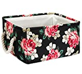 Storage Baskets Bins Fabric Rectangular Basket for Gifts with Rope Handles Decorative Canvas Foldable Storage Container Bins for Shelves, Bedroom, Closet, Toys and Christmas Ornament