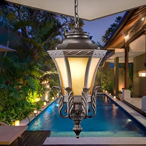 Cxwcy Suspensión de Waterpoof E27 minimalista moderna de la lámpara al aire libre lámpara del vintage Decoración de luz de la linterna Glorieta de techo de la lámpara pendiente for Porche, Pasillo, Vi