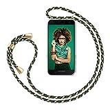 ZhinkArts Handykette kompatibel mit Samsung Galaxy A5 2017 (A520) - Smartphone Necklace Hülle mit Band - Handyhülle Hülle mit Kette zum umhängen in Grün Camouflage