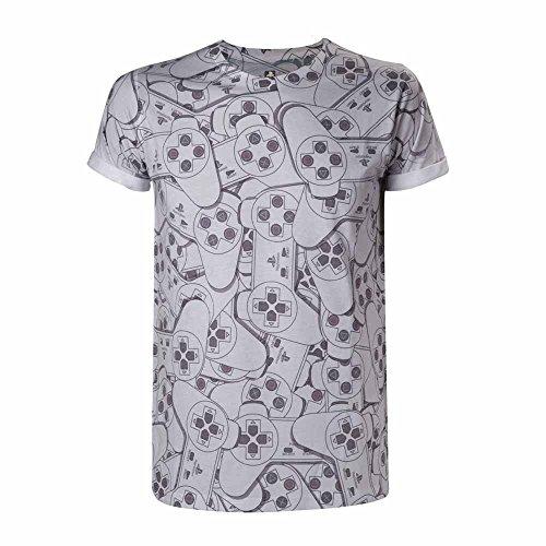 Playstation Controller T-Shirt weiß/grau L