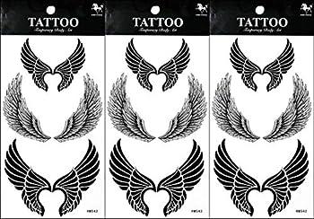 PP TATTOO 3 Sheets Temporary Tattoos Stickers Angel Wings Cartoon Tattoo Sticker Art Vintage for Men Women Guys Waterproof Body