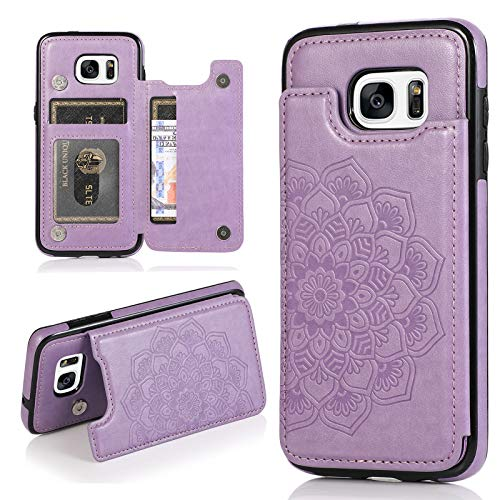 Phone Case for Samsung Galaxy S7 Edge with ID&Credit Card Holder Slots Pockets Wallet Back Cover Stand Flip Cell Glaxay S7edge Gaxaly S 7 Plus Galaxies GS7 7s 7edge Cases Soft PU Women Men Purple